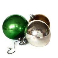 Glass Christmas Ornaments, Round, Silver, Green, Gold, Set of Three
