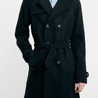 Men's Topman Wool Blend Double Breasted Trench Coat