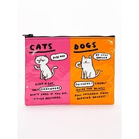 Cats & Dogs Zipper Pouch in Pink and Orange