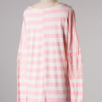 Sequin Stripes Top in Light Pink