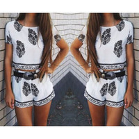 FASHION PRINTING SHORT SLEEVE TWO-PIECE SUIT