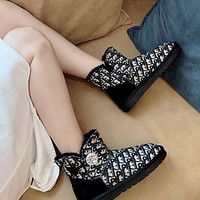 UGG x Louis Vuitton LV winter snow boots all-match rhinestone buckle thick-soled fashion warm thick short-tube cotton shoes-1