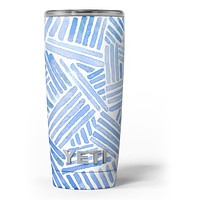 The Random Blue Watercolor Strokes - Skin Decal Vinyl Wrap Kit compatible with the Yeti Rambler Cooler Tumbler Cups