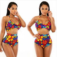 Halter Crop Top Shorts Print Tankini Two Piece Suits Swimsuits Beach Summer Women Plus Size Swimwear Bathing Suit Bikini Sets