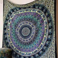 LARGE psychedelic elephant cotton tapestry hippie mandala wall hanging queen bedding bohemian boho bedspread cover throw ethnic home decor