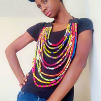 Multi layer - multi strand -wax print - african tribal - kitenge ankara fabric - bib collar statement - rope necklace - conversation piece