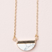 HALF MOON MARBLE STONE NECKLACE
