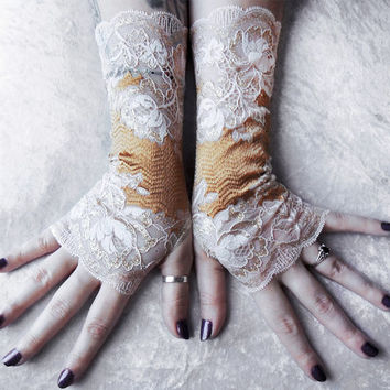 Seraphic Lace Fingerless Gloves | Ivory Floral Scroll Warm Champagne Gold | Wedding Victorian Bridal Gothic Burlesque Goth Noir Long Cosplay