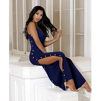 Navy Blue Gold Button Slit Palazzo Padded Jumpsuit