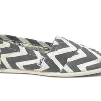 TOMS Grey JOYN Zig Zag Women's Vegan Classics Slip-On Shoes,