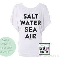 Salt Water Sea Air - LUXURY White Draped Tee - Fall Fashion - Mermaid Summer Fashion