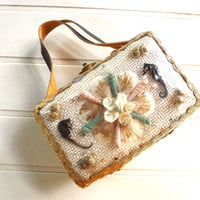 Tiny Straw and Leather Beach Box Purse, Fun Small Handbag with Seahorses and Shells