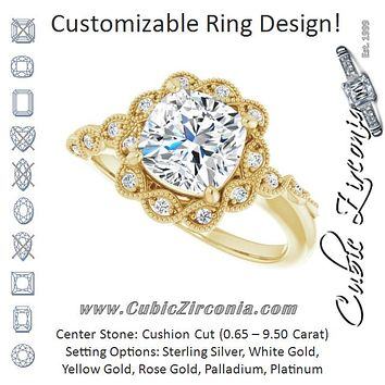 Cubic Zirconia Engagement Ring- The Makayla Belle (Customizable 3-stone Design with Cushion Cut Center and Halo Enhancement)