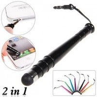 2 in 1 Stylish Aluminum Alloy Stylus Mini Pen for iPhone 5/Samsung Galaxy S3 i9300/HTC One X/One S/iPhone 4S/New iPad/etc