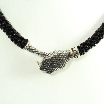 Black Snake Beaded Choker, Sterling Silver Snake Head Necklace, Kumihimo, Statement, Egyptian Asp, Reptile Jewelry, One of a Kind Handmade