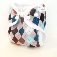 Argyle Newborn diaper cover shell with gussets and umbilical cord snap with wipeable inside