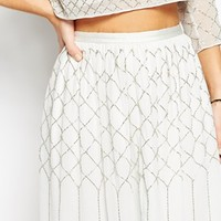 Needle & Thread Embellished Grid Mesh Skirt