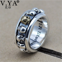 100% Real Pure 925 Sterling Silver Ring .Thai Silver domineering retro skull ring free shipping Men Jewelry HYR08