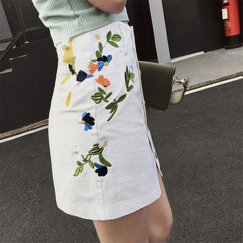 New  Fashion Floral Embroidery Pencil Skirt Mini Denim Skirts Woman Preppy Style Cute Button High Waist Skirts 72560 SM6