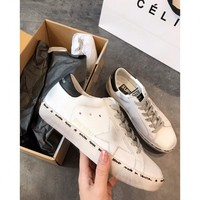Golden Goose Ggdb Hi Star White Sneakers With Black Heel Tab - Best Online Sale