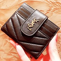GUCCI & YSL New fashion leather wallet couple purse clutch bag card package