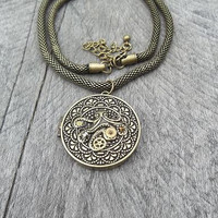 Reserved for Michelle B.: Clockpunk Steampunk Pendant Necklace, Antiqued Brass Cthulhu Locket on Modified Box-Rope Princess Chain