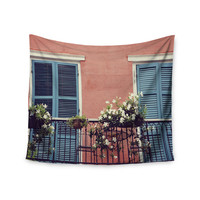"Sylvia Cook ""New Orleans Balcony"" Pink Blue Wall Tapestry"