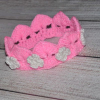 Crochet Crown Baby Photo Prop! Pink with White Flowers Baby Girl Photo Prop!