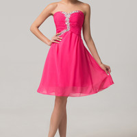 Deep Pink Strapless Ruched Beaded Homecoming Dress