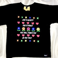 SWEET LORD O'MIGHTY! SHE WILL PUNCH YOU CROP TEE IN BLACK