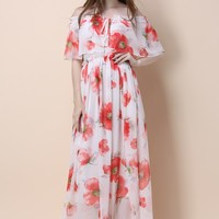 Poppy Grace Frilling Off-shoulder Maxi Dress