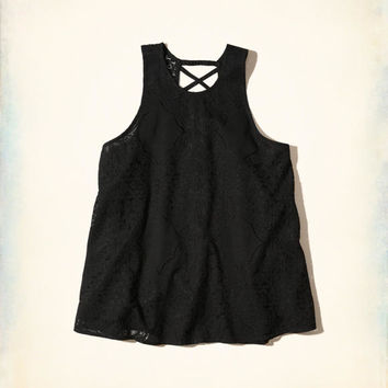 Girls Strappy Lace High-Neck Tank   Girls Tops   HollisterCo.com