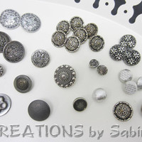 Vintage Silver Buttons, Mixed Lot of Shank Style Metal Buttons, Antique, Assorted Shapes and Ornaments, Large, Supply Supplies (28)