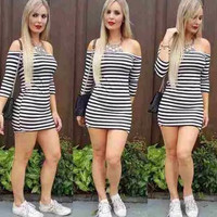 Off Shoulder Causal Stripe Dress 13203