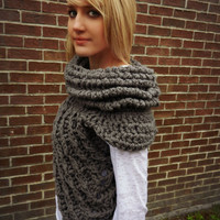 Huntress Crossbody Cowl Scarf, Capelet, Infinity wrap scarf, Vest, Knit armor, Crochet Shield Shawl, chunky scarf, gift for her