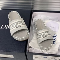 Dior embroidered slippers