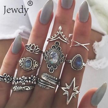 11PCS/SET Vintage Blue Crystal Rings Set for Women Silver Lotus Feather Boho Midi Knuckle Rings Statement Fashion Jewelry Gift