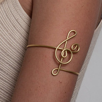Tribal arm band, upper arm bracelet G-Clef Bracelet Upper Arm cuff  , Music Jewelry, Treble Clef Bracelet, simple everyday jewelry