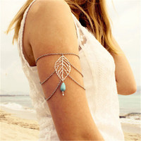 Sunshine New Arrival tibetan silver Natural Handmade Water Drop Turquoise Jewelry Hollow Out leaf Bracelet For Women 2016