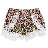 Girl's Flowers by Zoe Crochet Trim Shorts,
