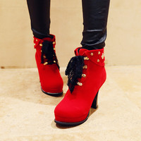 Lace Up Studded Platform Short Boots 8869