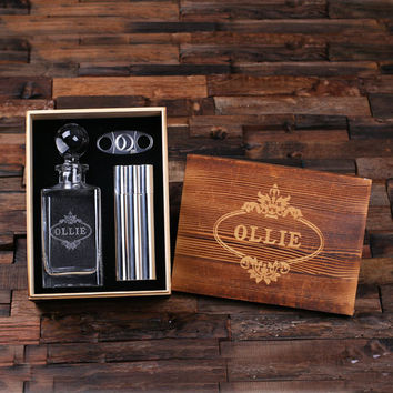 Personalized Whiskey Decanter with Global Bottle Lid Metal Cigar Cutter Cigar Holder Case with Whiskey Flask and Wood Box