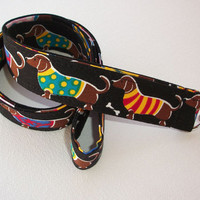 Lanyard / ID Holder with lobster claw clasp - dachshunds in sweaters