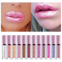 pop star look Diamond Metallic Lip Gloss Glitter Metallic Liquid Lipstick Glitter Pearl Color
