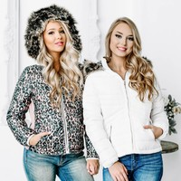 Aspen Cheetah Reversible Puffy Jacket | White