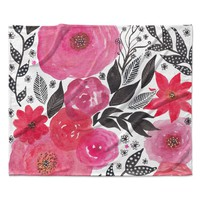 "Li Zamperini ""Pink Garden"" Rose Floral Fleece Throw Blanket"