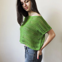FREE SHIPPING Pure cotton crop top Green knit blouse Boho lace top Knit womens cropped tank Spring Summer tank Short sleeve cropped blouse