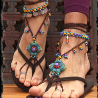 green BAREFOOT SANDALS SUMMER crochet sandals beaded sandals foot jewelry beach wedding bohemian gypsy shoes photo shoot props made to order