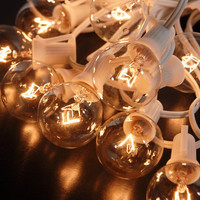 """Paper Lantern Lights (for 8"""" -14"""" lanterns) Clear Bulbs 25 Sockets (12"""" spacing) White Cord (28.5') $18.95 set"""