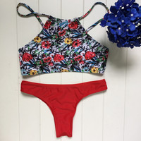 Womens Red Floral Bikini Set Swimsuit Beach Bathing Suits Summer Free Shipping